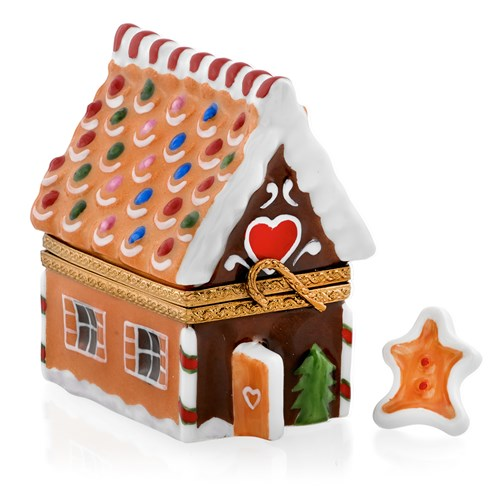 Gingerbread House with Gingerman Limoges Box