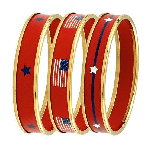 Halcyon Days Patriotic Bangles, Red