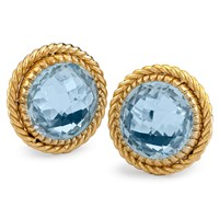 18K Yellow Gold with Blue Topaz Beaded Rim Earrings