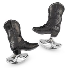 Sterling Silver & Enamel Black Cowboy Boot Cufflinks