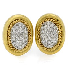 18k Yellow Gold Earrings with Pave Diamonds & Hammered Rope Border