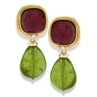 18k Yellow Gold Pink Tourmaline Earrings with Diamonds & Posts