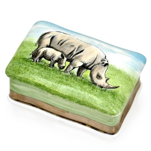Rhino with Mother Bone China Box, Small