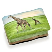 Giraffe with Mother Bone China Box, Small