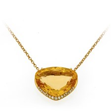 18k Gold Round Teardrop Citrine Necklace