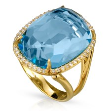 18k Gold Blue Topaz & Diamond Ring