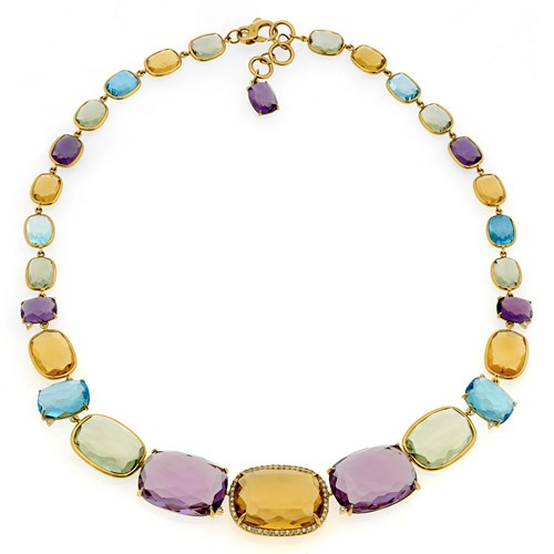 18k Yellow Gold Multi-Stone Confetti Necklace