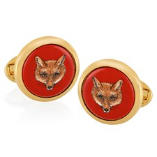 Halcyon Days Fox on Red Round Cufflinks