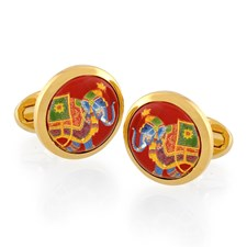 Halcyon Days Indian Elephant on Red Round Cufflinks