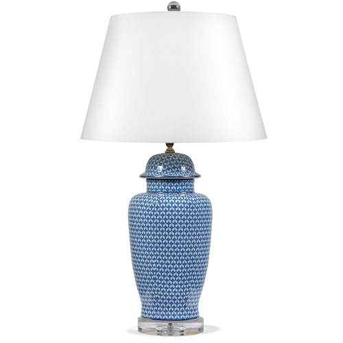 Blue & White Fishnet Temple Jar Lamp