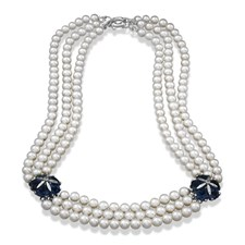 18k White Gold London Blue Topaz & Pearl Necklace
