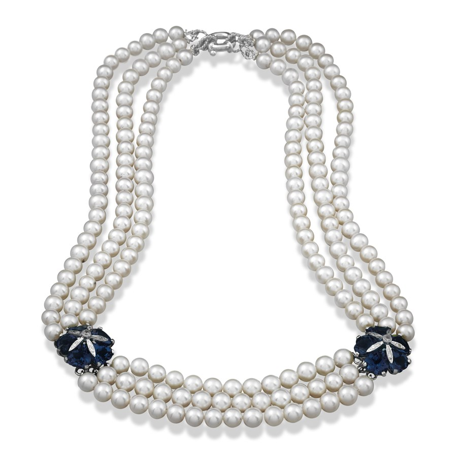 Blue Topaz And Pearl Necklace: London Blue Topaz Pearl Necklace