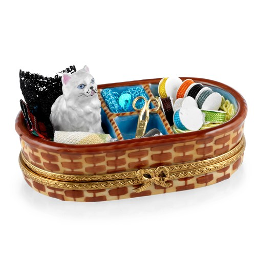 Cat in Sewing Basket Limoges Box