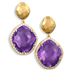 Yellow Gold Hammered Drop Earrings with Amethysts