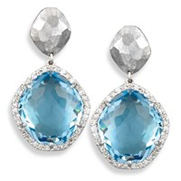 White Gold Hammered Drop Earrings with Blue Topaz