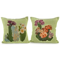 Cactus Flowers Jacquard Pillows