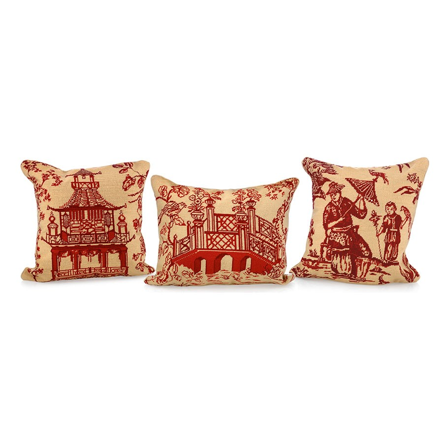 Red Chinoiserie Needlepoint Pillows Pillows Home Decor