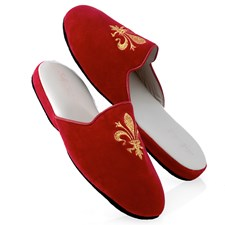Women's Red Velvet Slippers with Fleur-De-Lis