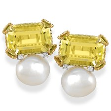 Octagonal Lemon Citrine & Pearl Earrings