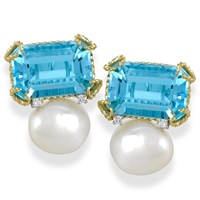 Octagonal Blue Topaz & Pearl Earrings