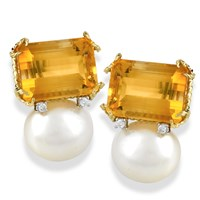 Octagonal Citrine & Pearl Earrings