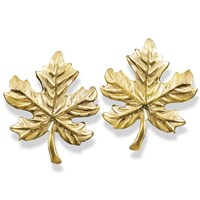 Gold Maple Leaf Earrings & Pin