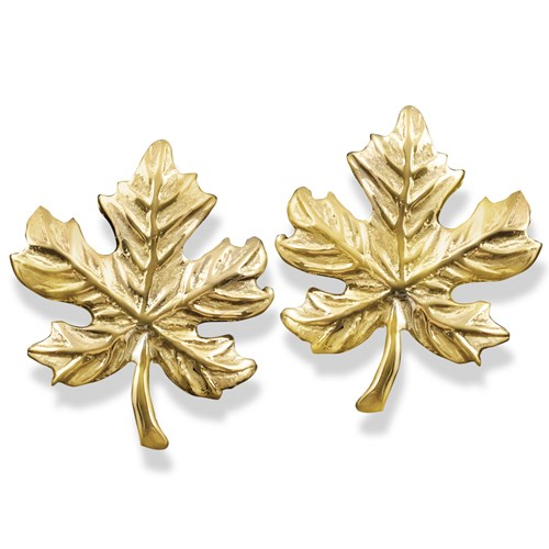 18k Gold Maple Leaf Earrings & Pin