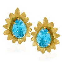 Blue Topaz Flower Earrings