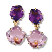 Pink Amethyst Pentagonal Drop Earrings