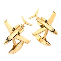 18k Yellow Gold Private Jet Cufflinks