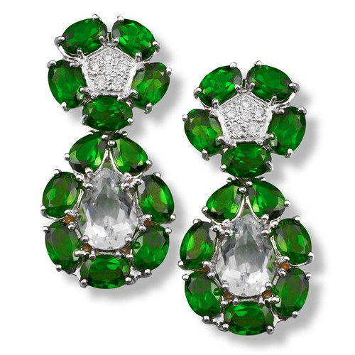 Chrome Diopside Convertible Drop / Button Earrings