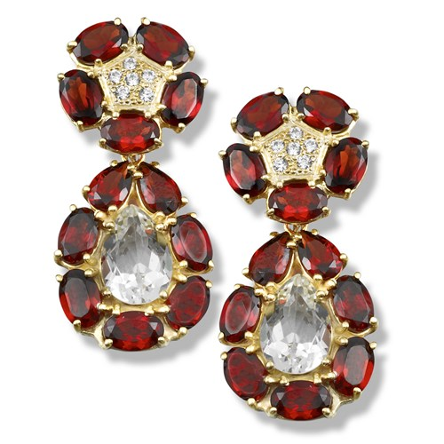 Garnet Convertible Drop / Button Earrings