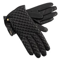 Women's Black Criss-Cross Leather Gloves