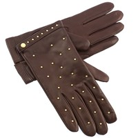Women's Chocolate Leather Gloves with Gold Studs