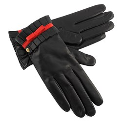 Women's Black Leather Gloves with Red Bow