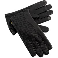Men's Black Criss-Cross Leather Gloves