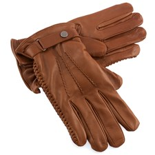 Men's Brown Leather Gloves with 3 Seams