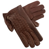 Men's Chocolate Leather Criss-Cross Gloves