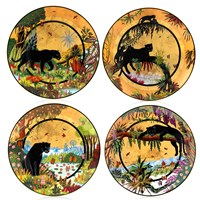 Panther Noir Assorted Dessert Plates, Set Of 4