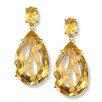 Citrine Drop Diamond Weave Earrings
