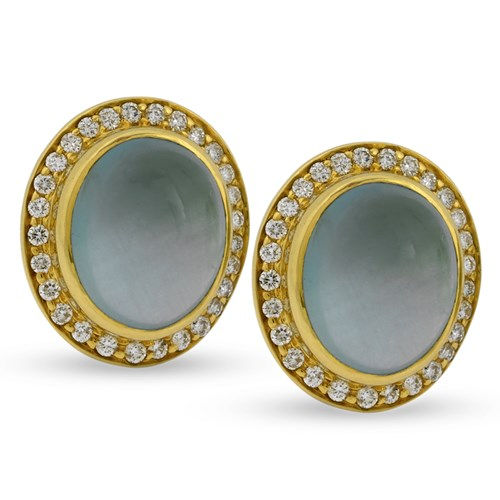 18k Yellow Gold Earrings with Capri Aqua Cabochons & Diamonds