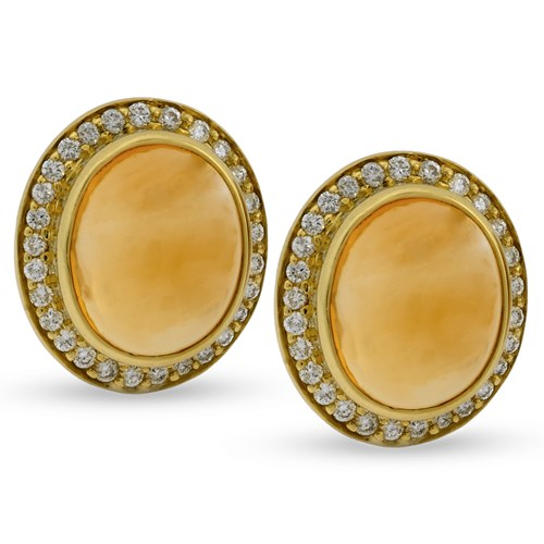 18k Yellow Gold Earrings with Capri Citrine Cabochons & Diamonds