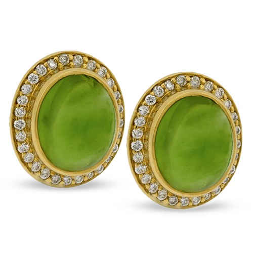 18k Yellow Gold Earrings with Capri Peridot Cabochons & Diamonds
