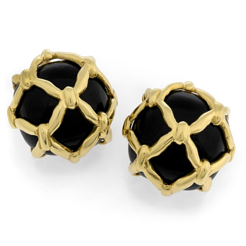 18k Black Onyx Net Covered Earrings