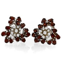18k White Gold Garnet Spread Flower Earrings with Diamonds