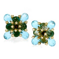 18k Gold & Blue Topaz Checkered Flower Earrings with Diamonds