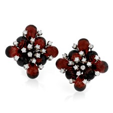 18k White Gold Garnet Checkered Flower Earrings with Diamonds
