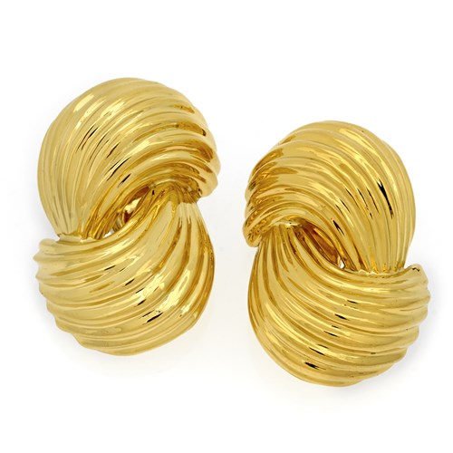 18k Yellow Gold Double Swirl Earrings