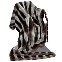 Faux Fur Throw with Gray Stripes & Cashmere