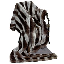 Faux Fur Throw with Gray Stripes & Wool